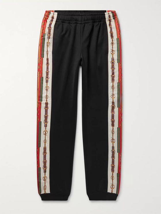 GUCCI Slim-Fit Tapered Printed Silk-Trimmed Jersey Track Pants
