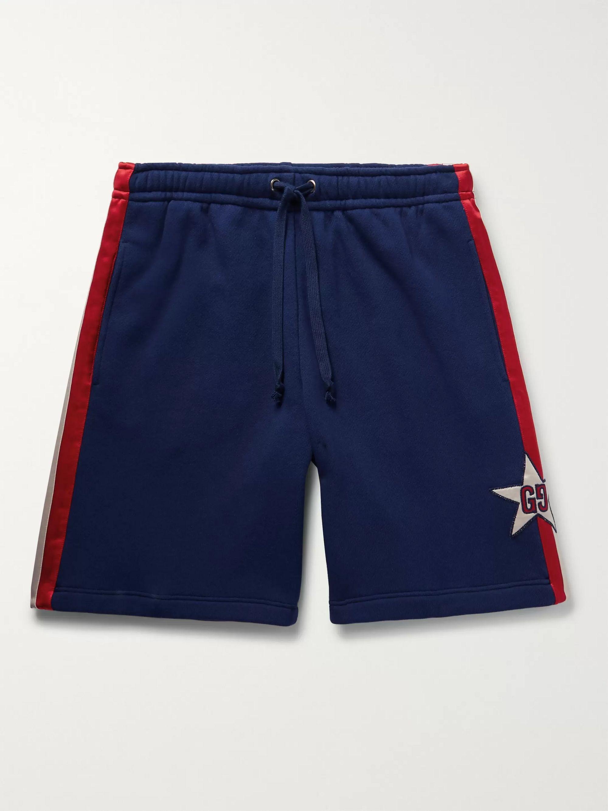 구찌 Gucci Logo-Appliqued Satin Twill-Trimmed Loopback Cotton-Jersey Shorts,Navy