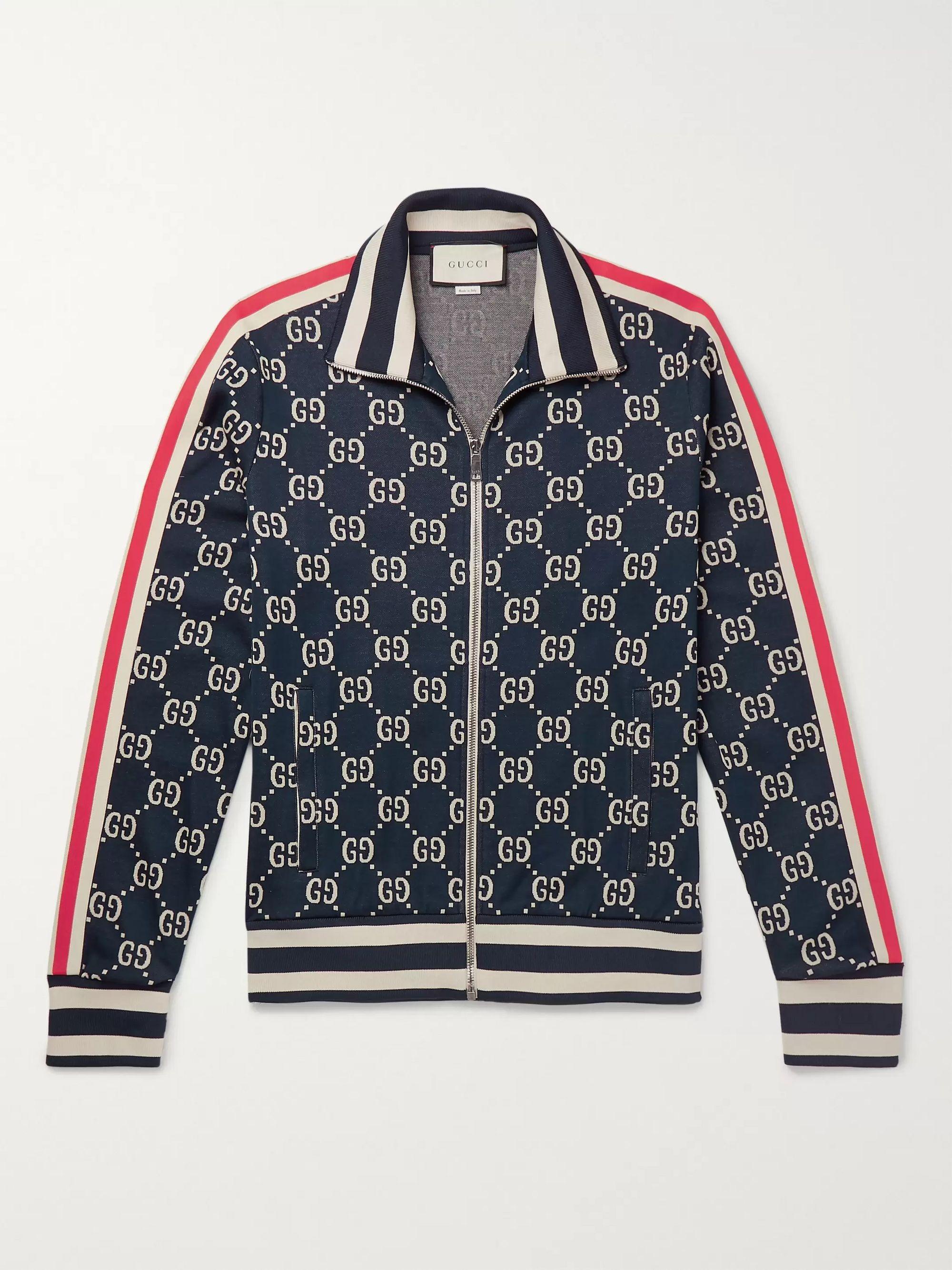 구찌 Gucci Navy Striped Logo-Intarsia Cotton Track Jacket,Navy