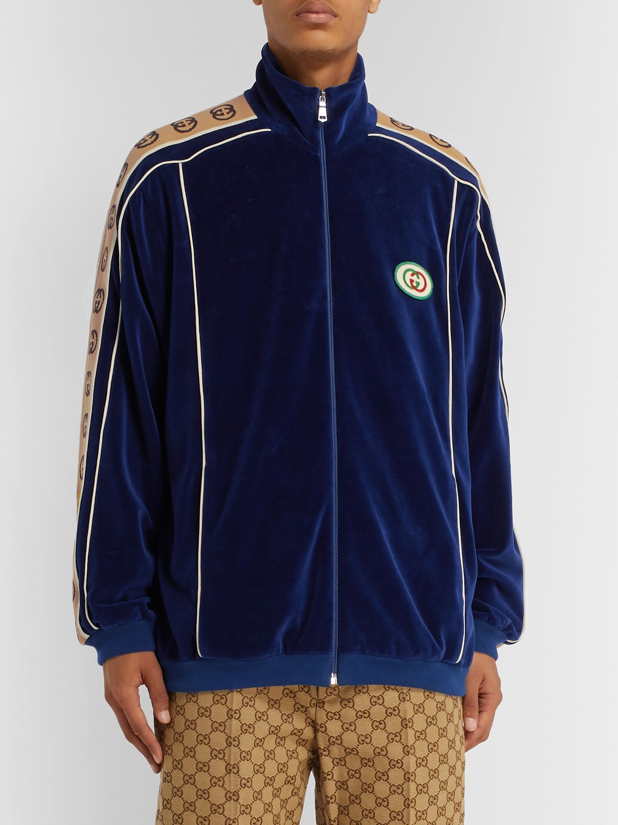 Gucci Oversized Logo-Appliquéd Webbing-Trimmed Piped Velvet Track Jacket