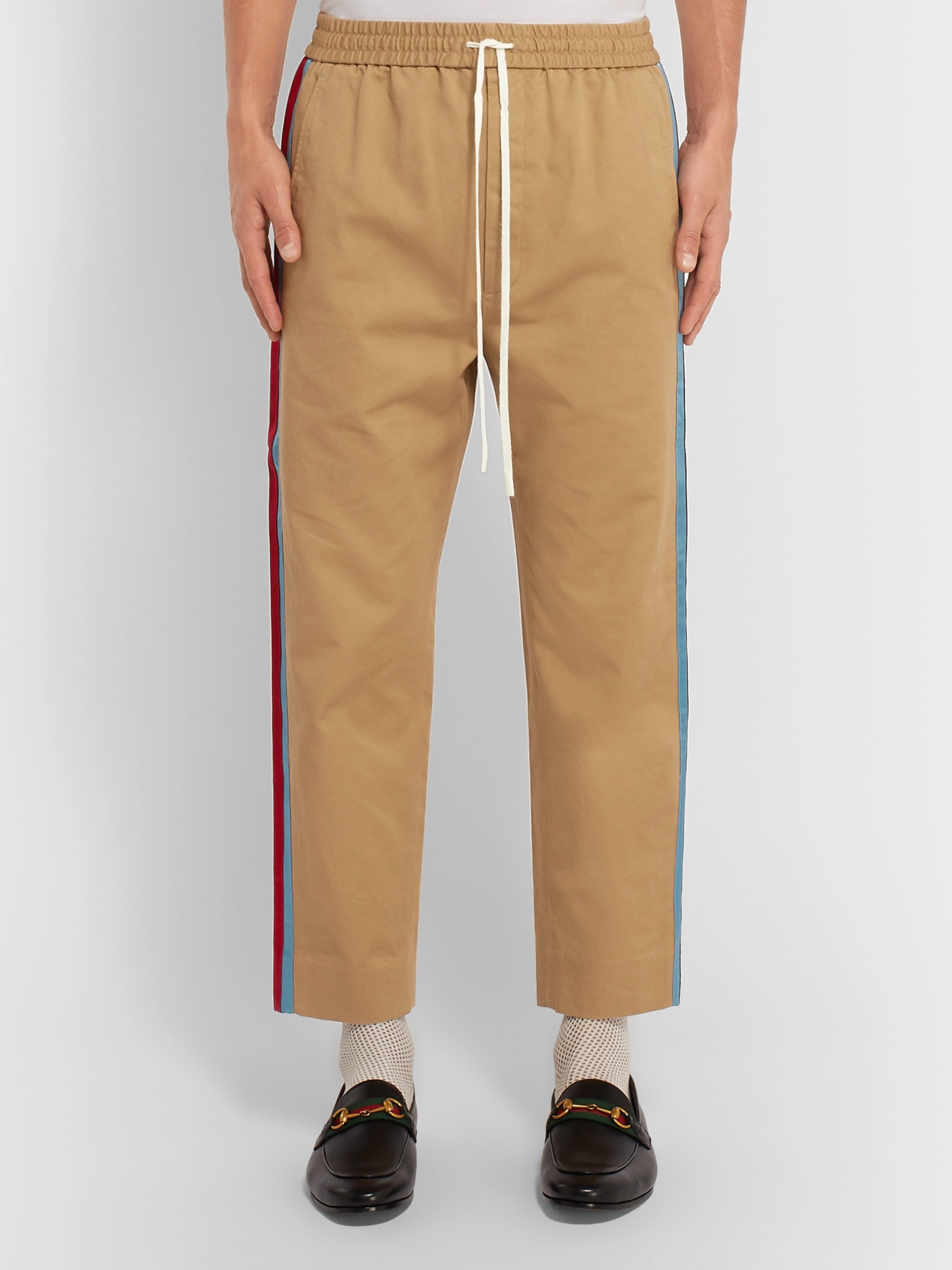 d7120a9cf Beige Tapered Cropped Striped Satin-Trimmed Cotton-Twill Trousers ...