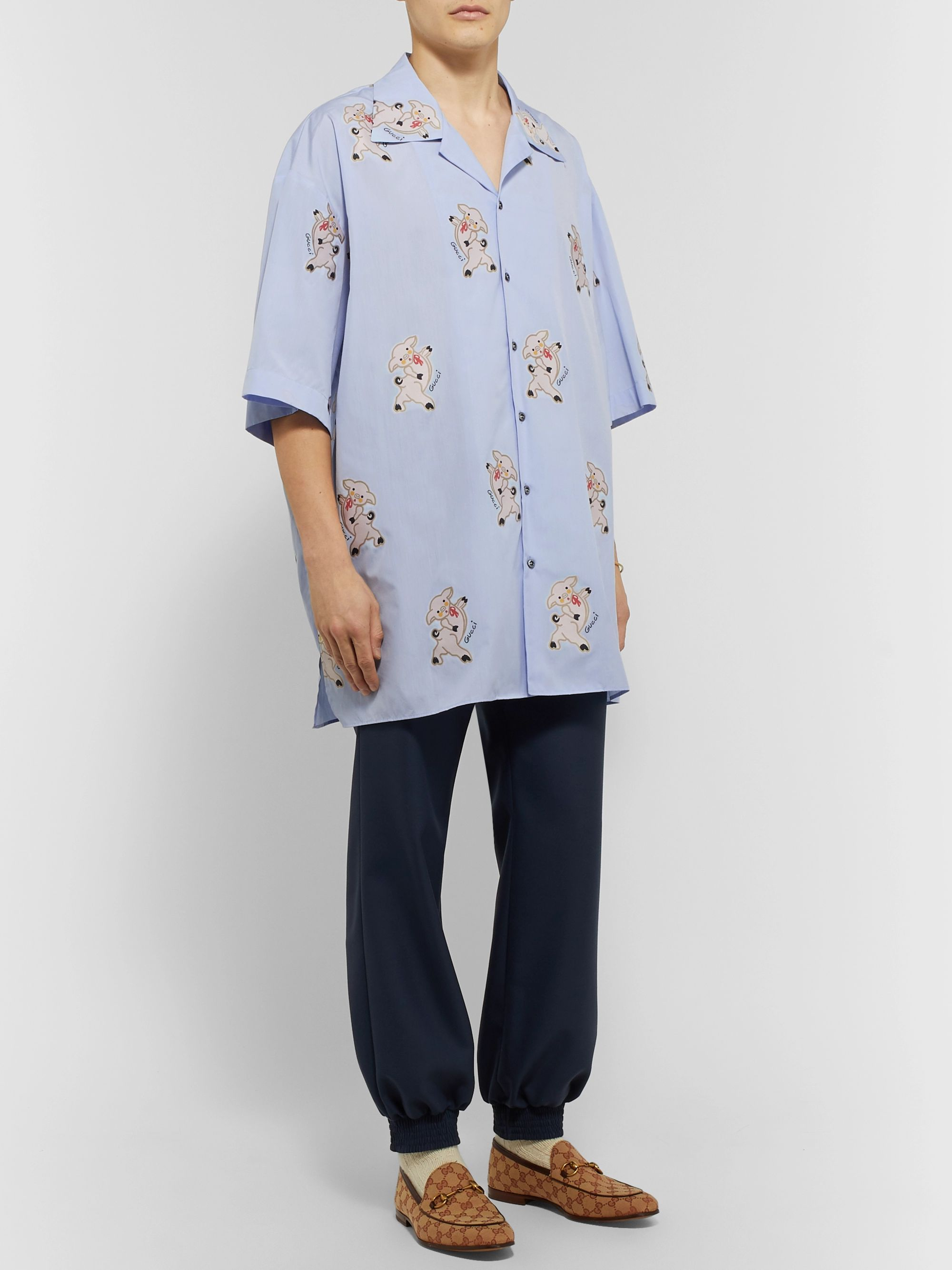 Gucci Oversized Camp-Collar Embroidered Cotton Shirt