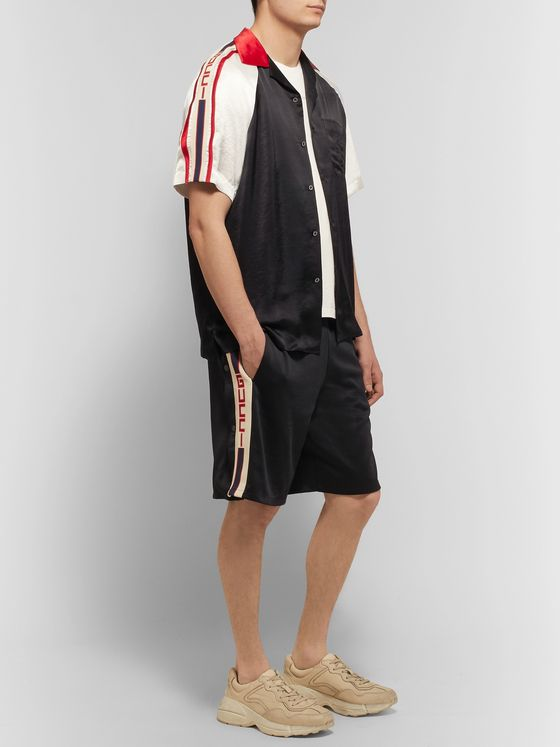 Gucci Webbing-Trimmed Tech-Jersey Shorts