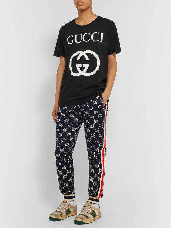 Gucci Tapered Striped Logo-Intarsia Cotton Track Pants