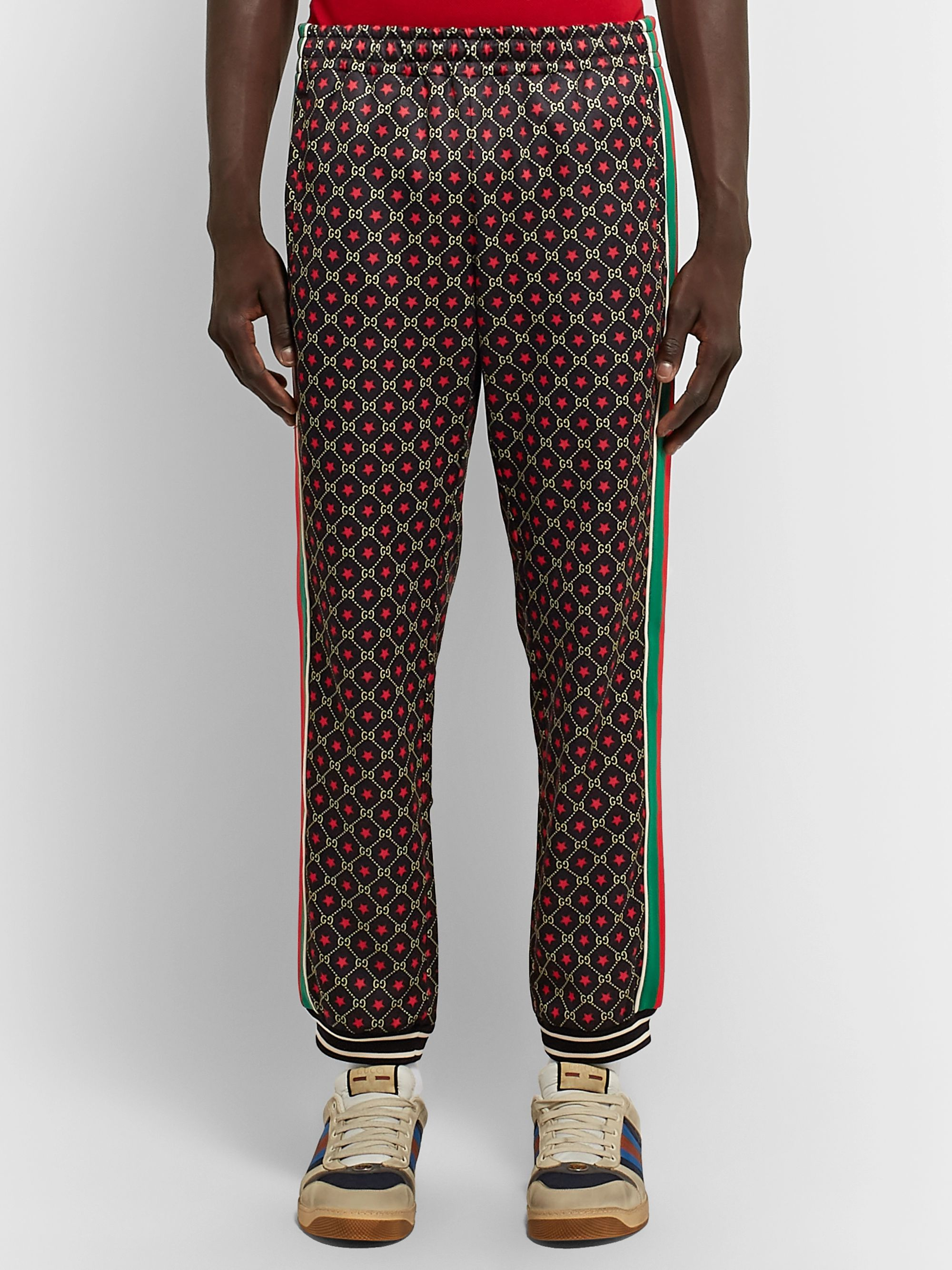 Gucci Tapered Webbing-Trimmed Logo-Print Tech-Jersey Track Pants