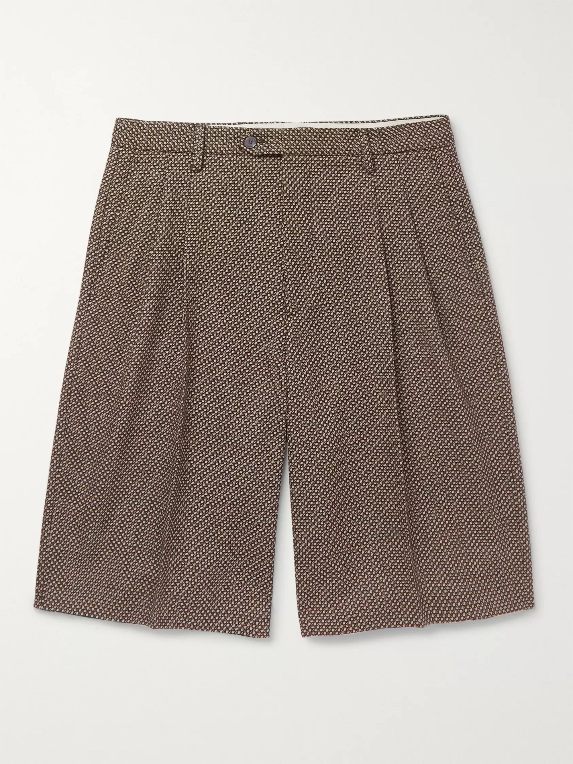 구찌 Gucci Wide-Leg Pleated Birdseye Wool Shorts,Brown