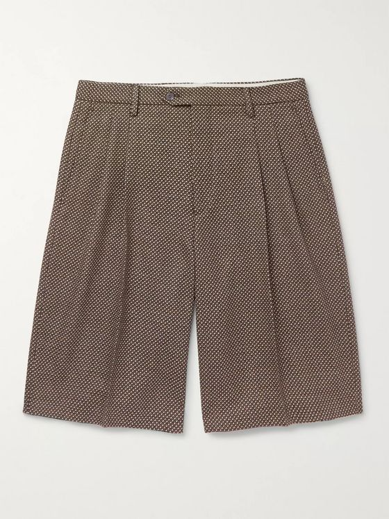 GUCCI Wide-Leg Pleated Birdseye Wool Shorts