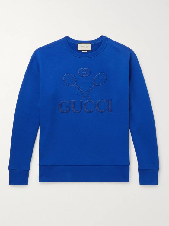 Gucci Logo-Embroidered Loopback Cotton-Jersey Sweatshirt