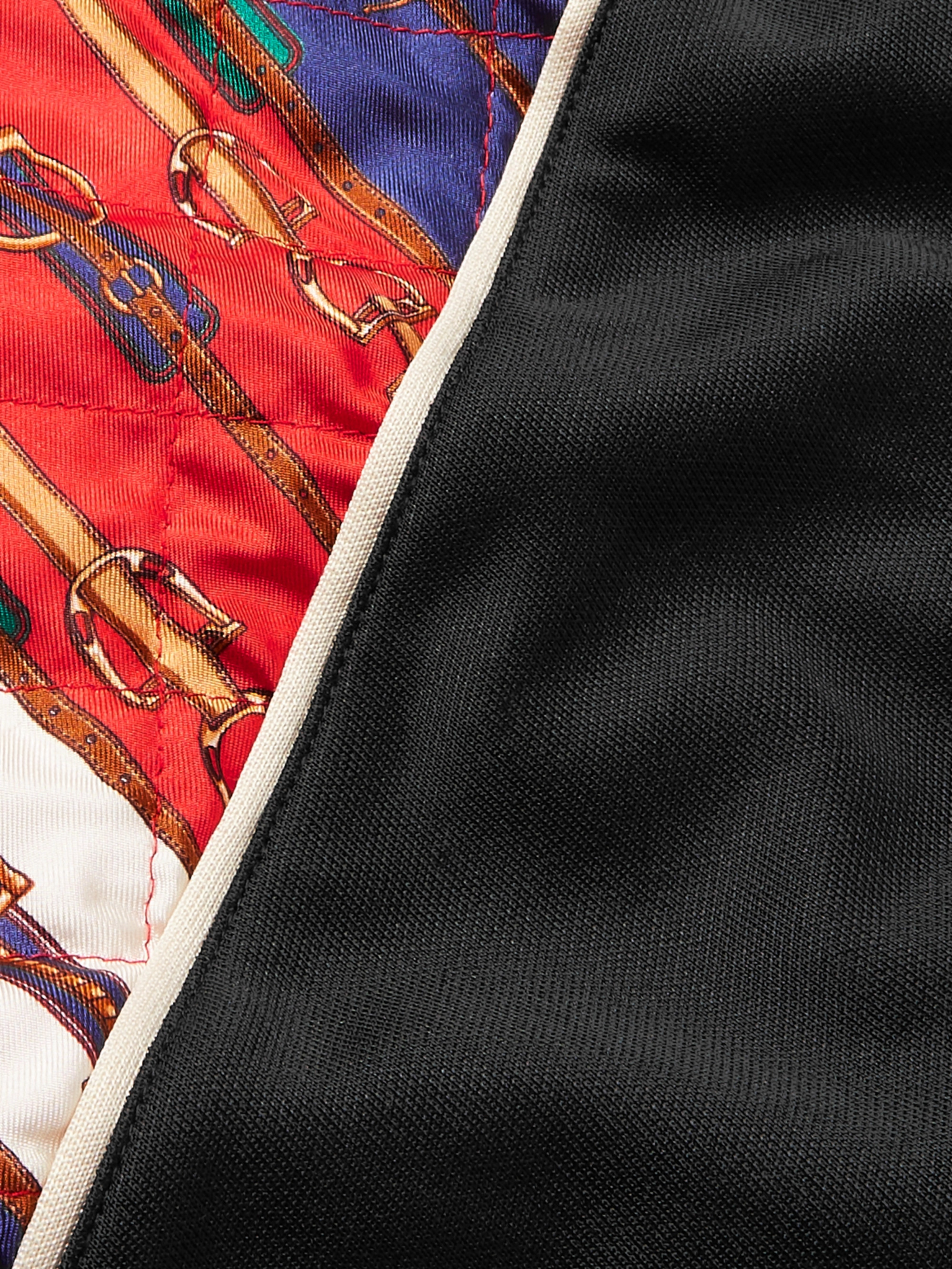 705902836 Black Printed Silk-Twill and Tech-Jersey Bomber Jacket | Gucci | MR ...