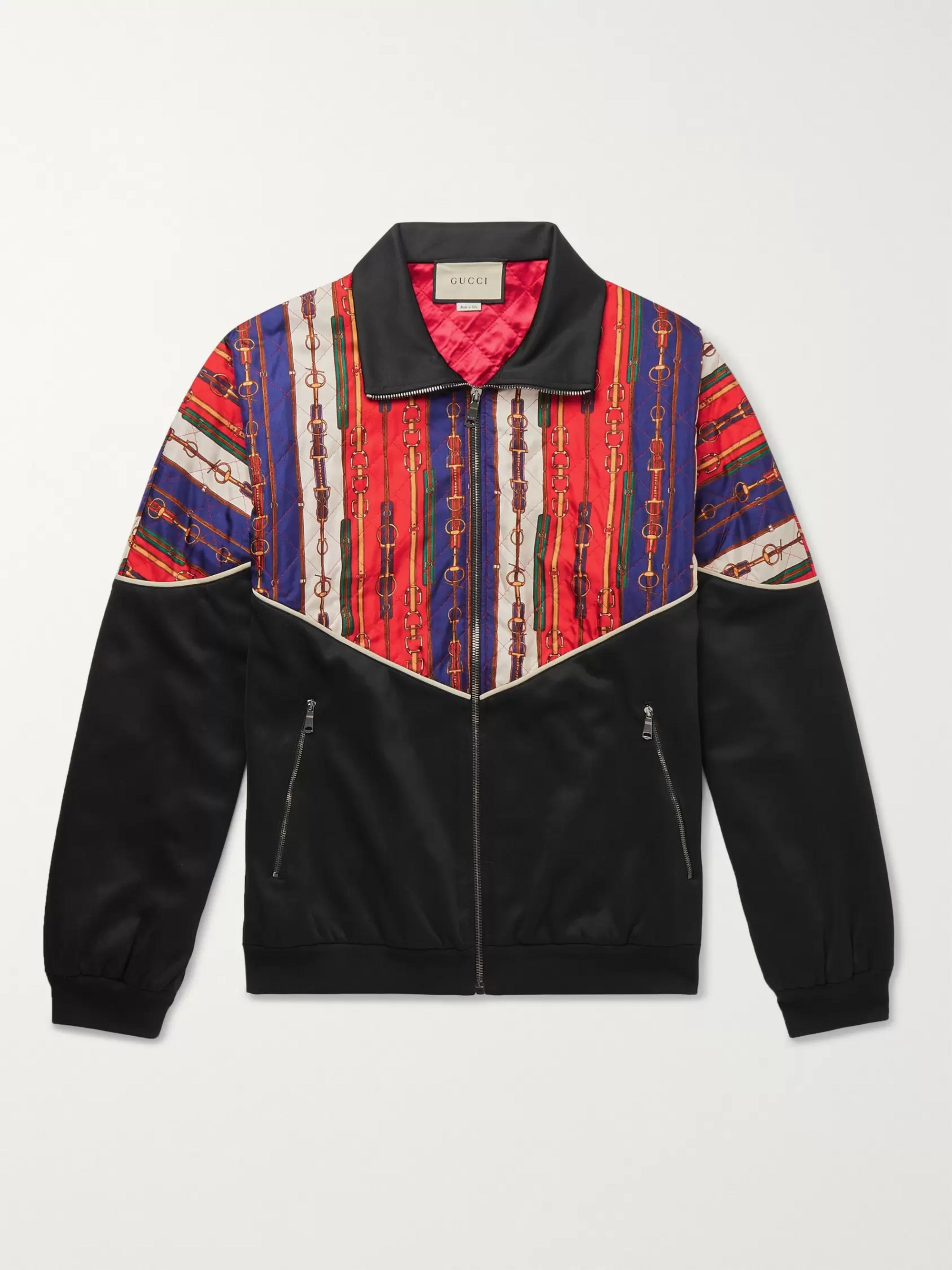 1ee5855b0ad Gucci Printed Silk-Twill and Tech-Jersey Bomber Jacket