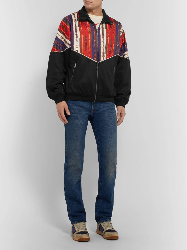 Gucci Printed Silk-Twill and Tech-Jersey Bomber Jacket