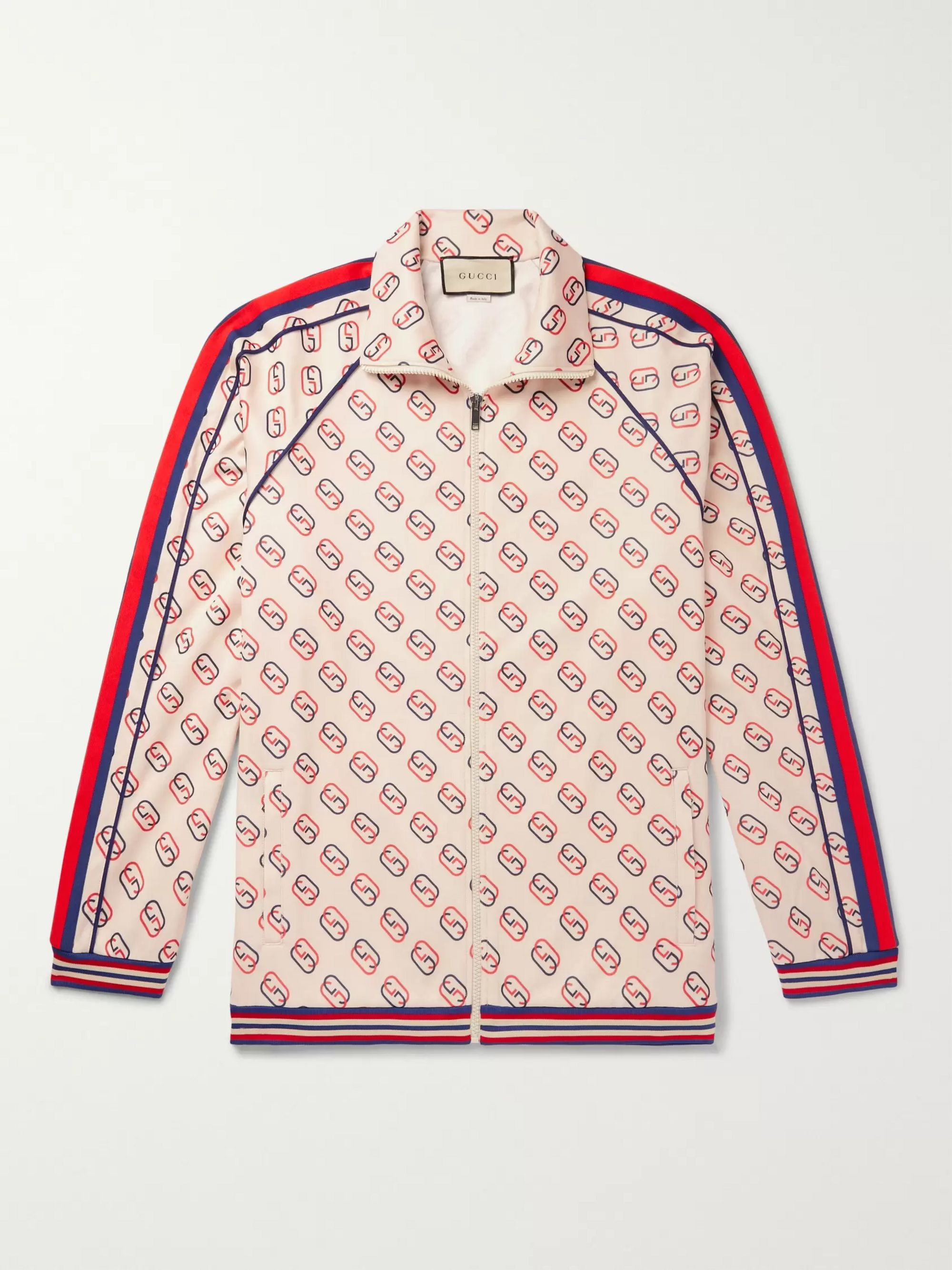 구찌 Gucci Neutral Striped Webbing-Trimmed Logo-Print Tech-Jersey Track Jacket,Neutral