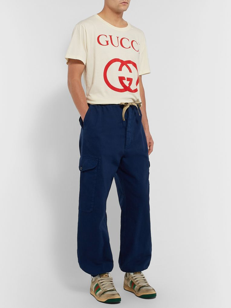 Gucci Tapered Herringbone Denim Cargo Trousers
