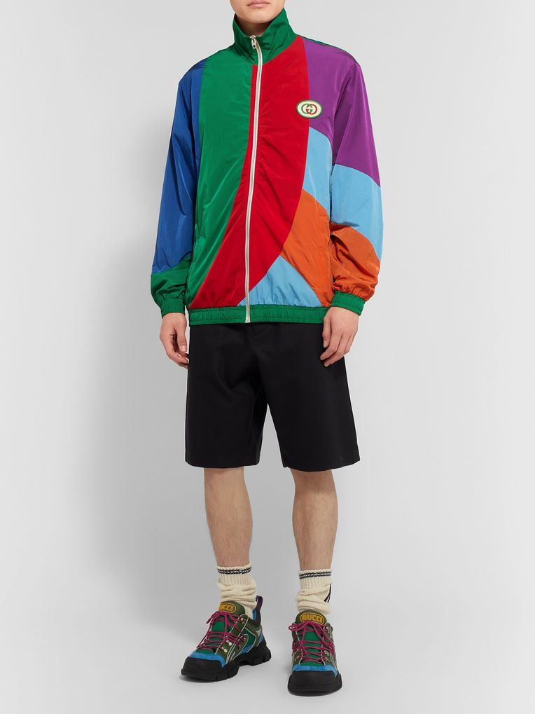 Gucci Logo-Appliquéd Colour-Block Nylon Track Jacket