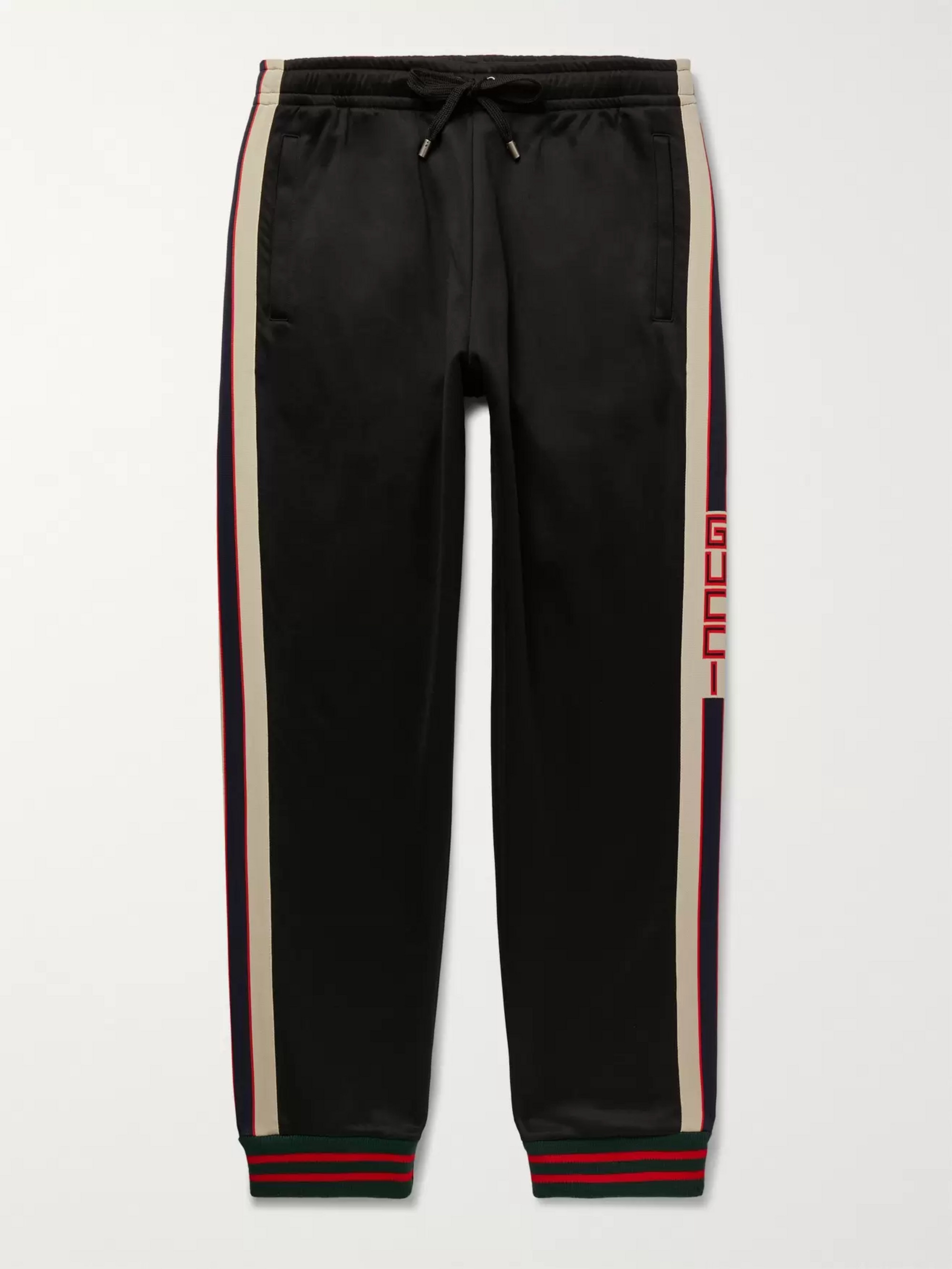 Gucci Tapered Webbing-Trimmed Tech-Jersey Track Pants