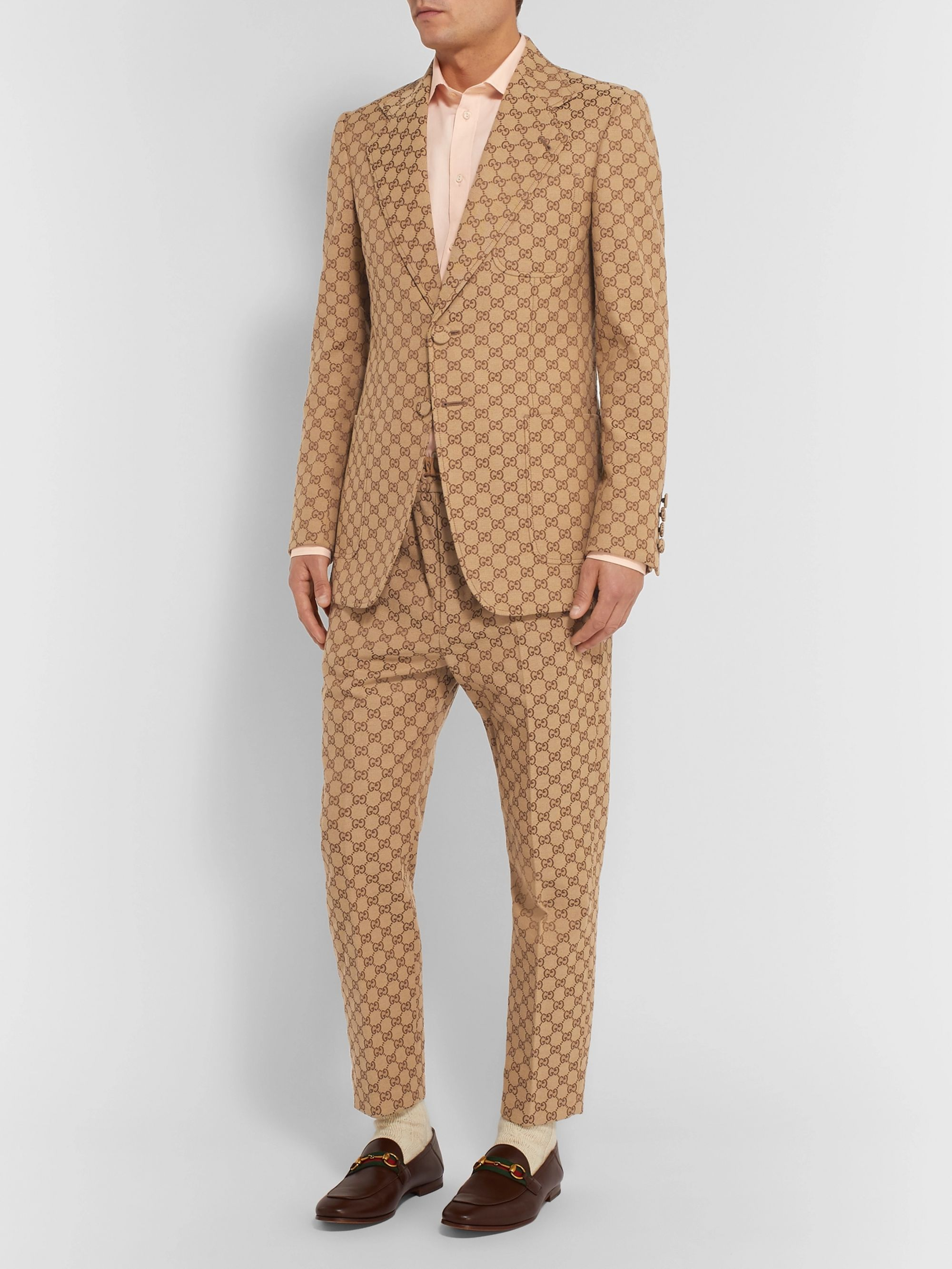 Gucci Beige Slim-Fit Logo-Jacquard Cotton-Blend Suit Jacket