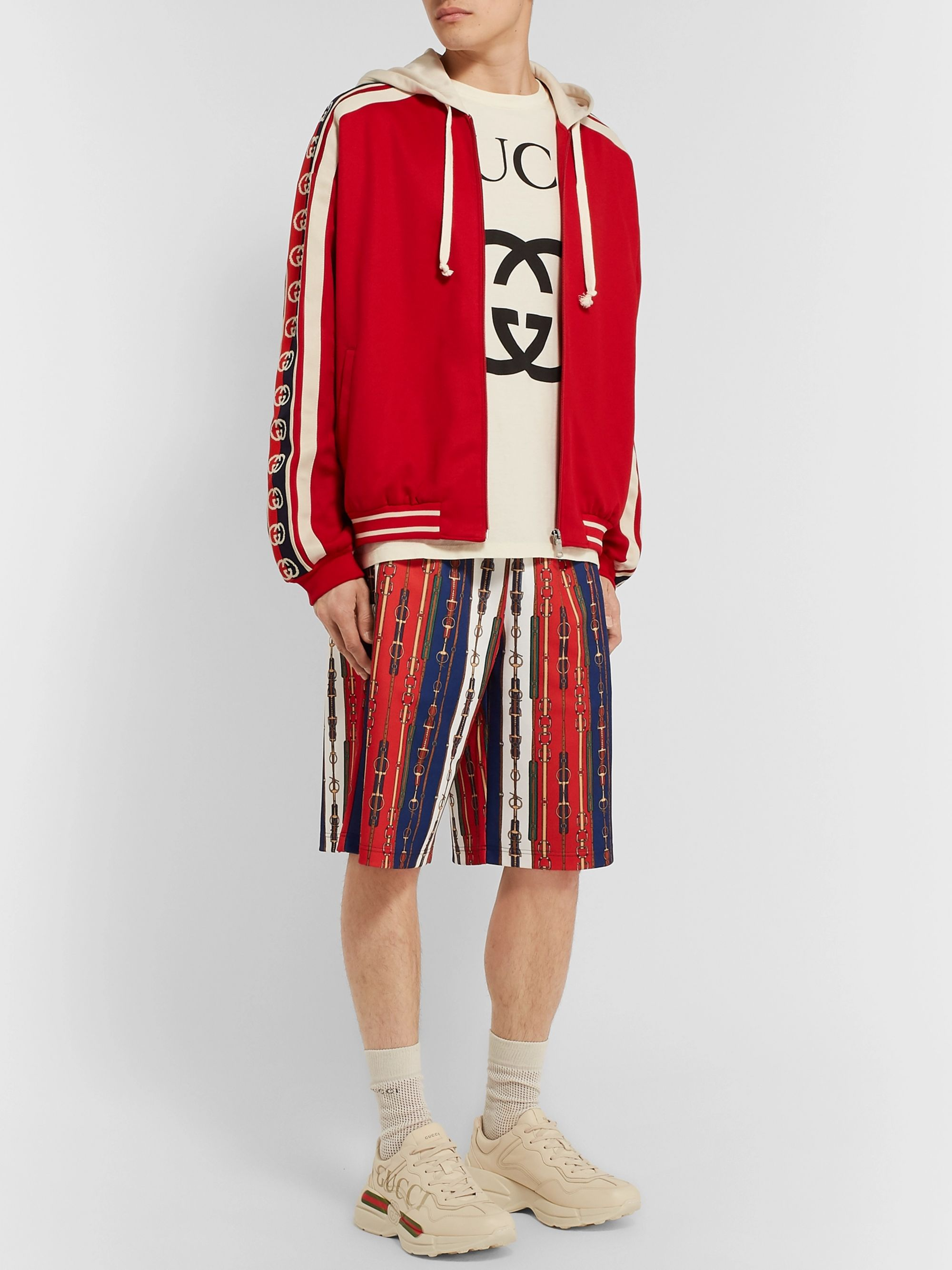 Gucci Webbing-Trimmed Tech-Jersey Zip-Up Hoodie