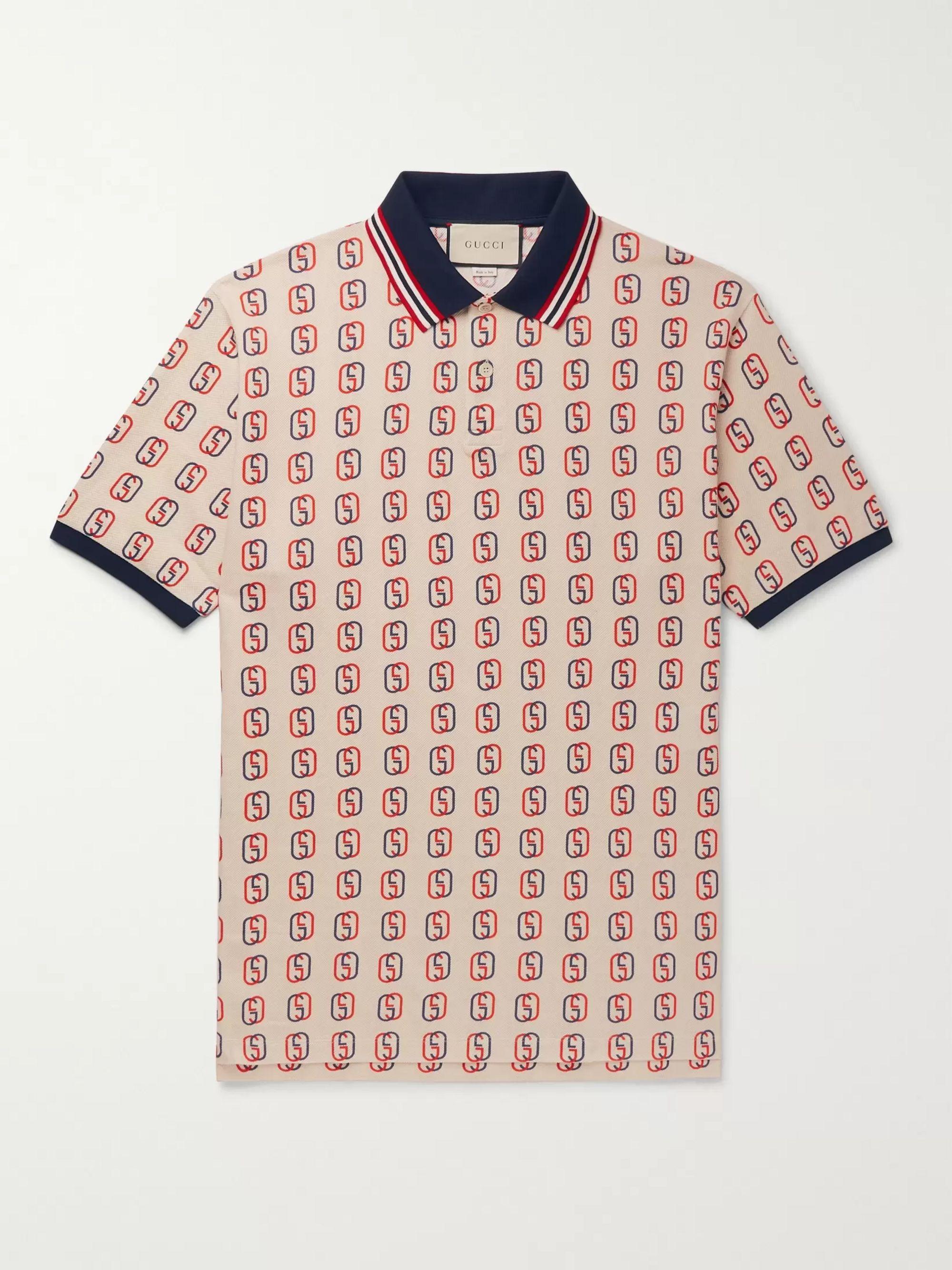 Oversized Logo Print Stretch Cotton Piqué Polo Shirt