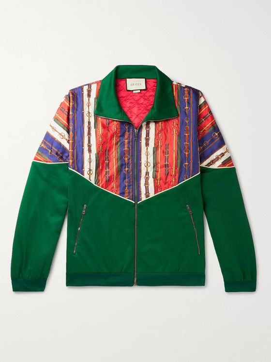 Gucci Oversized Printed Silk-Twill and Tech-Jersey Bomber Jacket