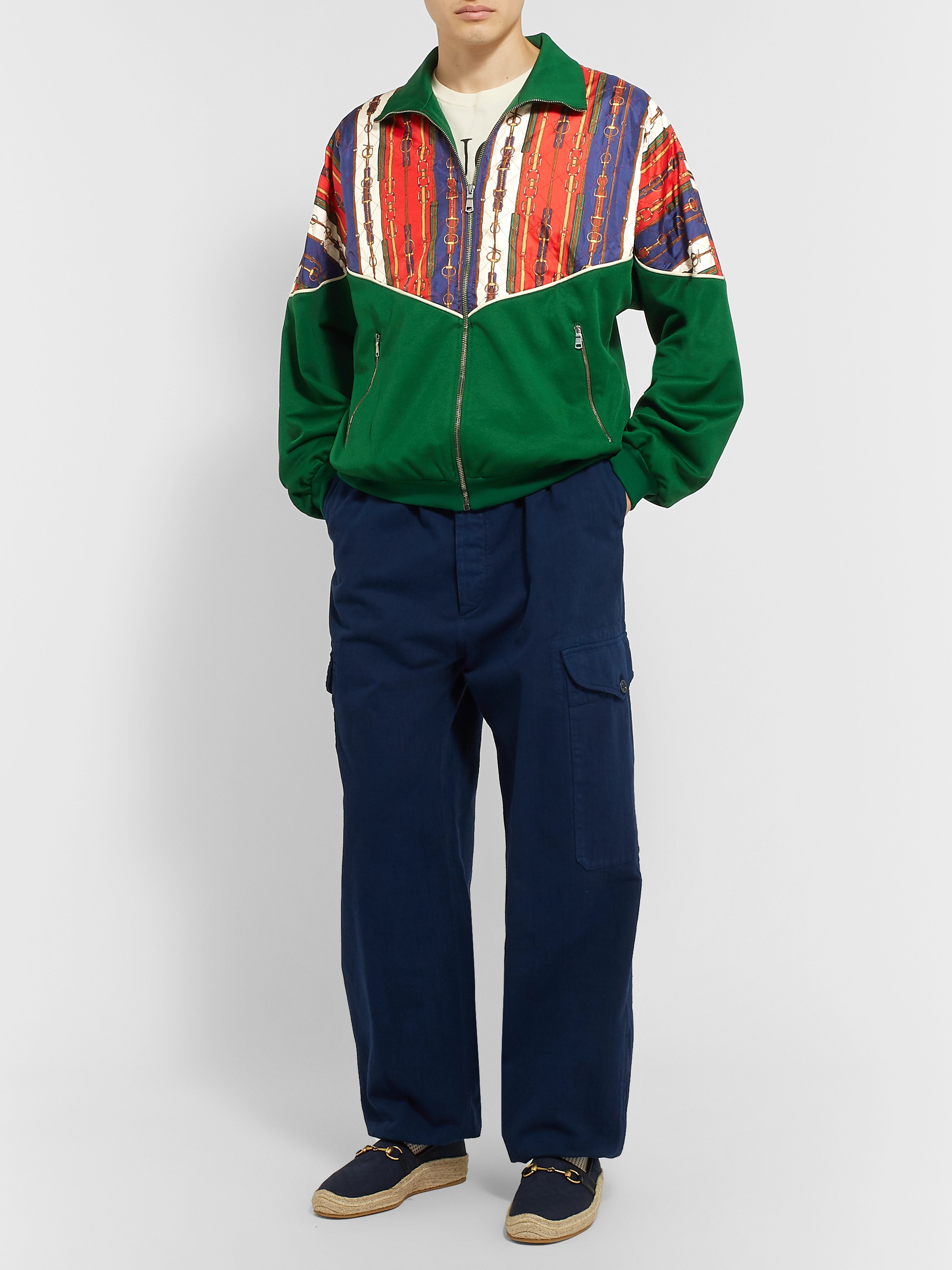 e29c2fdfd Gucci Oversized Printed Silk-Twill and Tech-Jersey Bomber Jacket