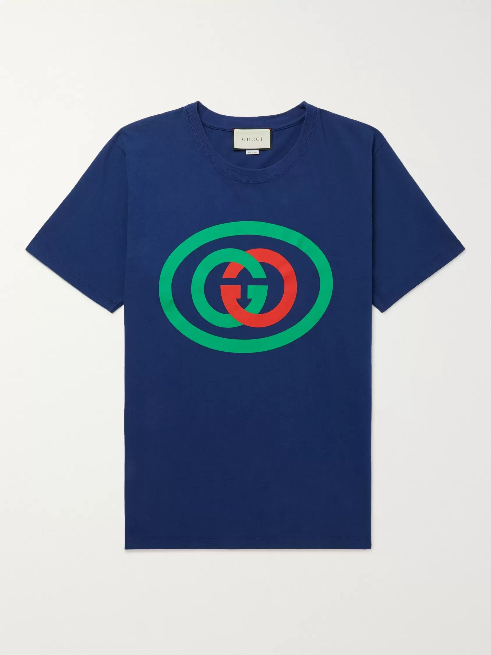 구찌 Gucci Oversized Logo-Print Cotton-Jersey T-Shirt,Blue