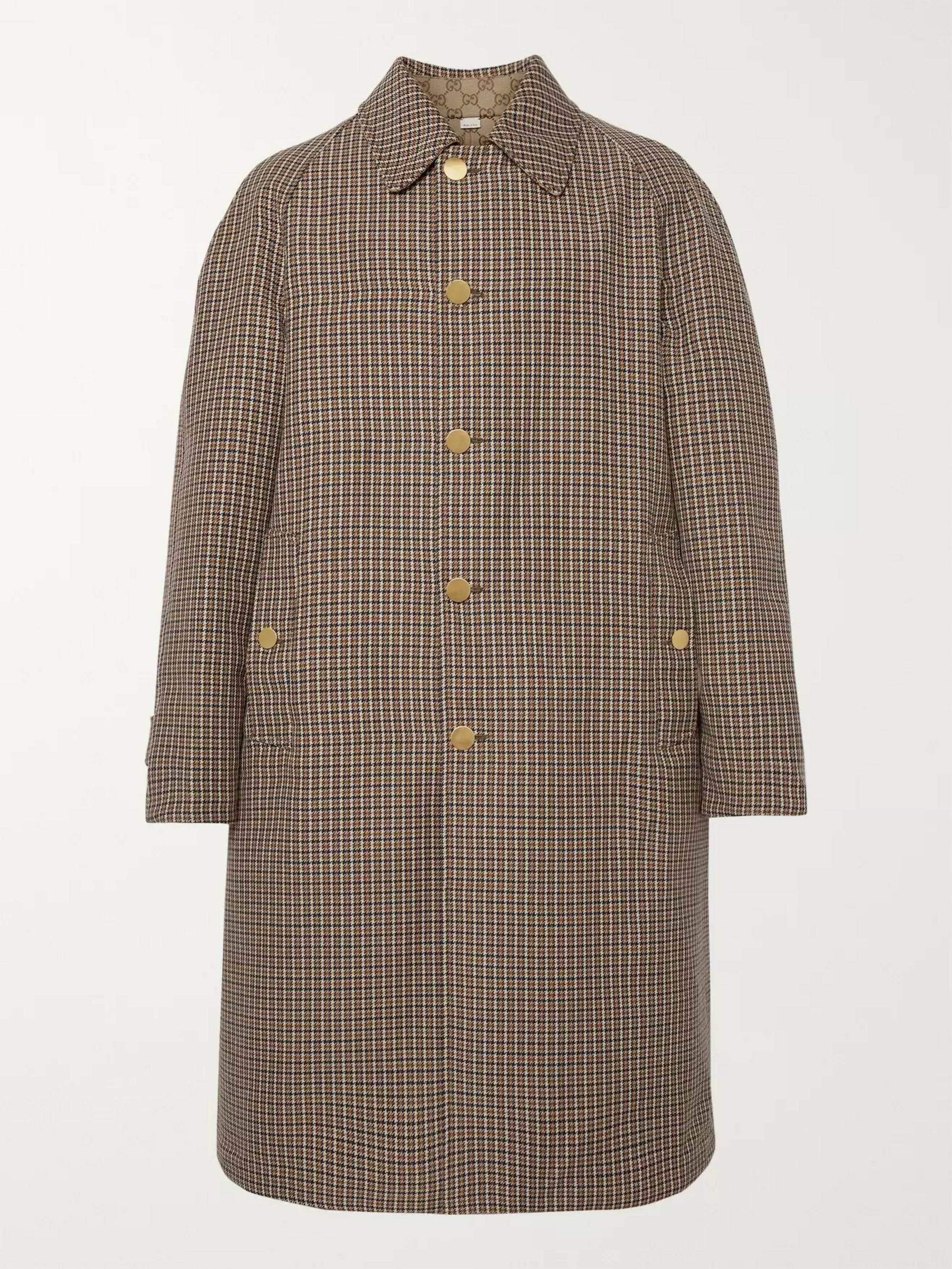 Gucci Reversible Logo-Jacquard Cotton-Blend Canvas and Houndstooth Wool Coat