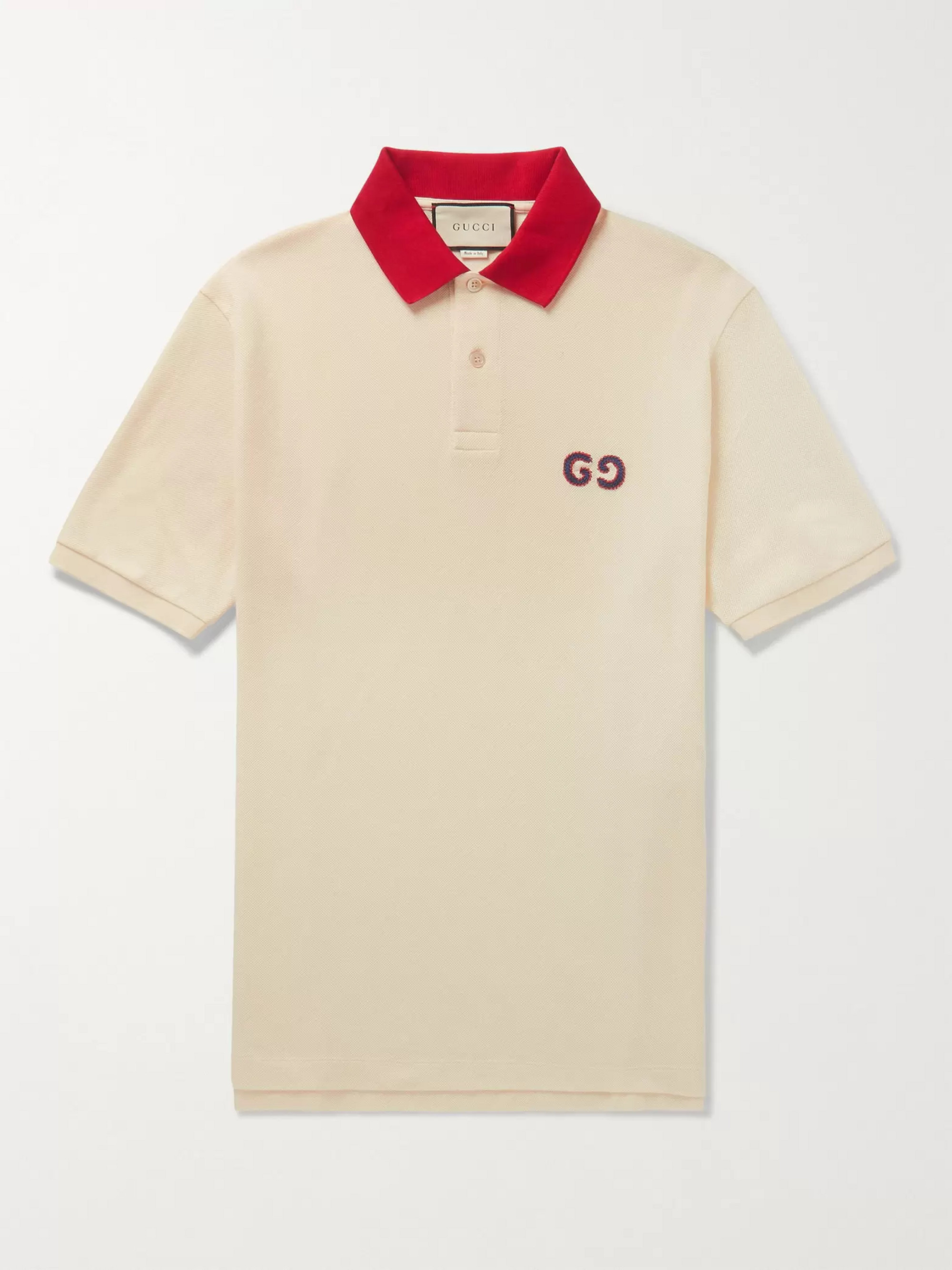 daa3a93e8aea Cream Logo-Embroidered Stretch-Cotton Piqué Polo Shirt | Gucci | MR ...