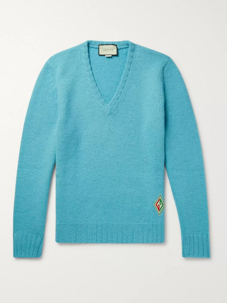 Gucci Logo-Appliquéd Brushed-Wool Sweater