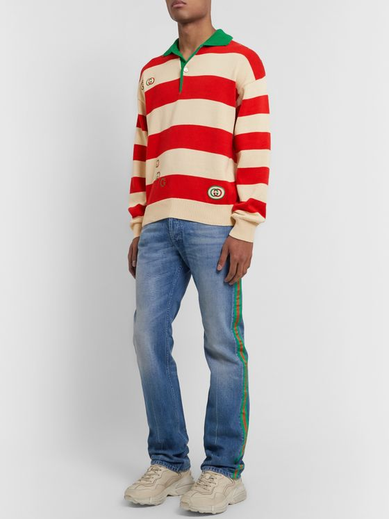 Gucci Logo-Embroidered Striped Cotton Half-Placket Sweater