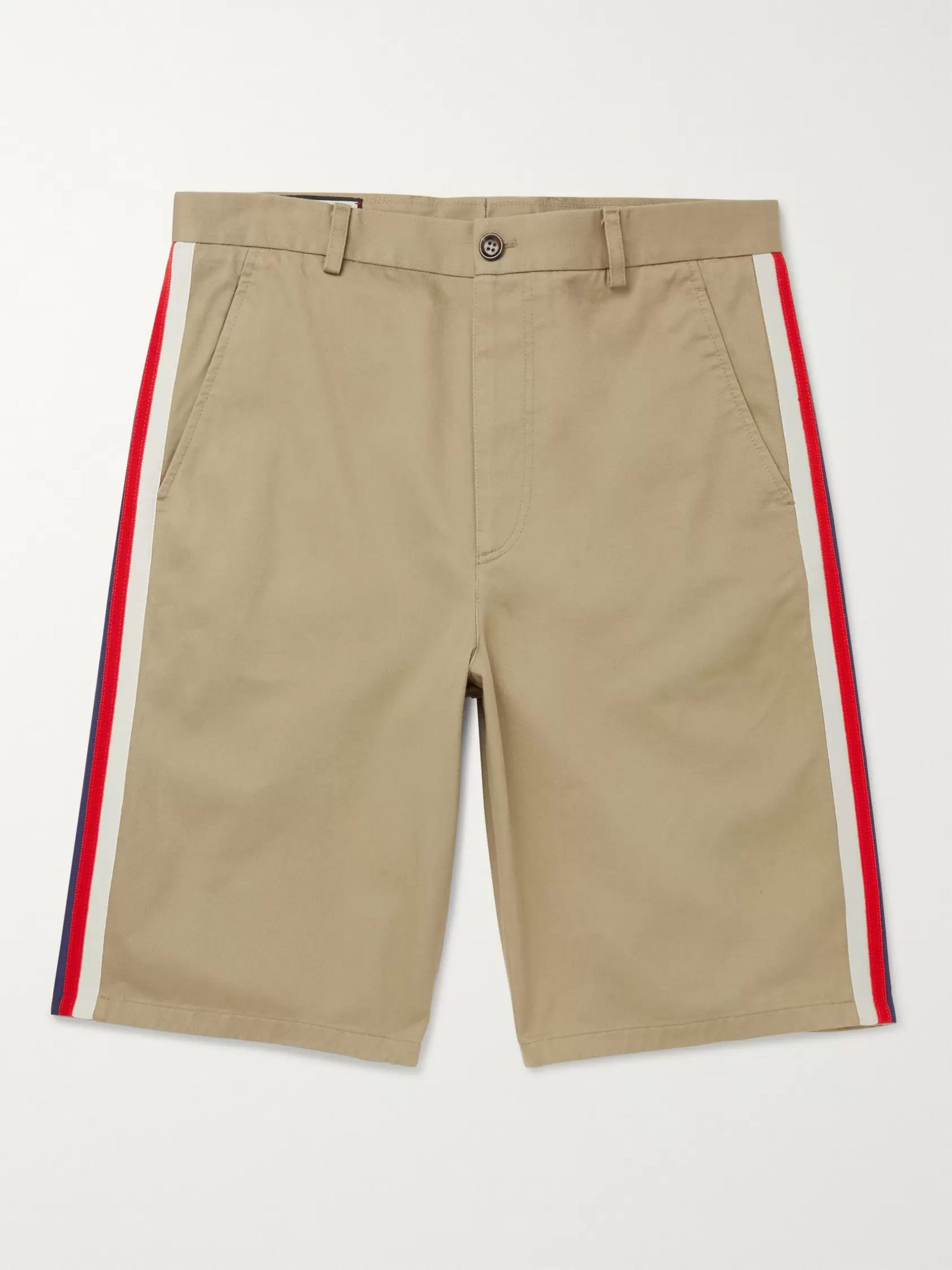 Gucci Webbing-Trimmed Cotton-Twill Bermuda Shorts