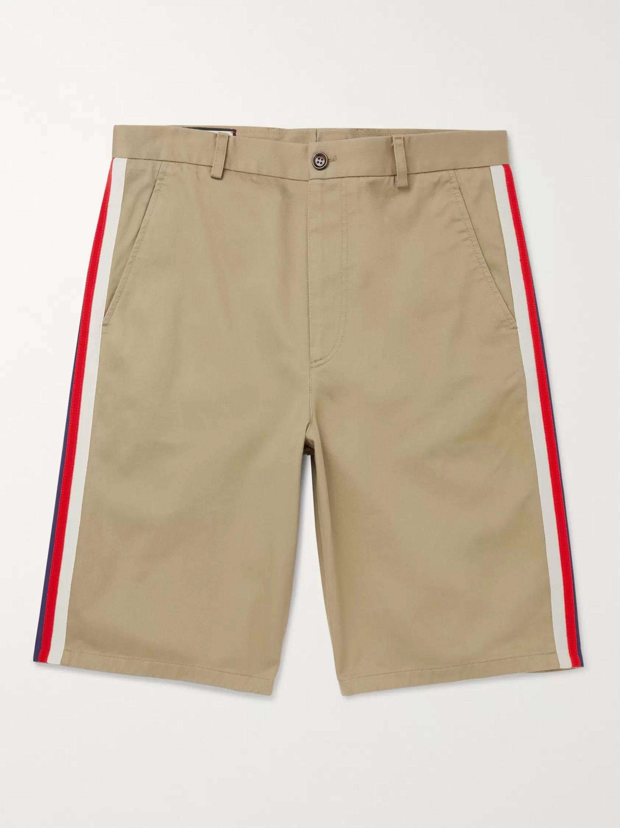 구찌 Gucci Webbing-Trimmed Cotton-Twill Bermuda Shorts,Beige