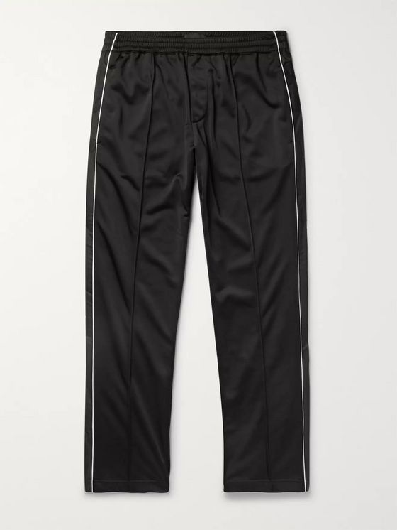 Prada Tapered Piped Tech-Jersey and Shell Track Pants