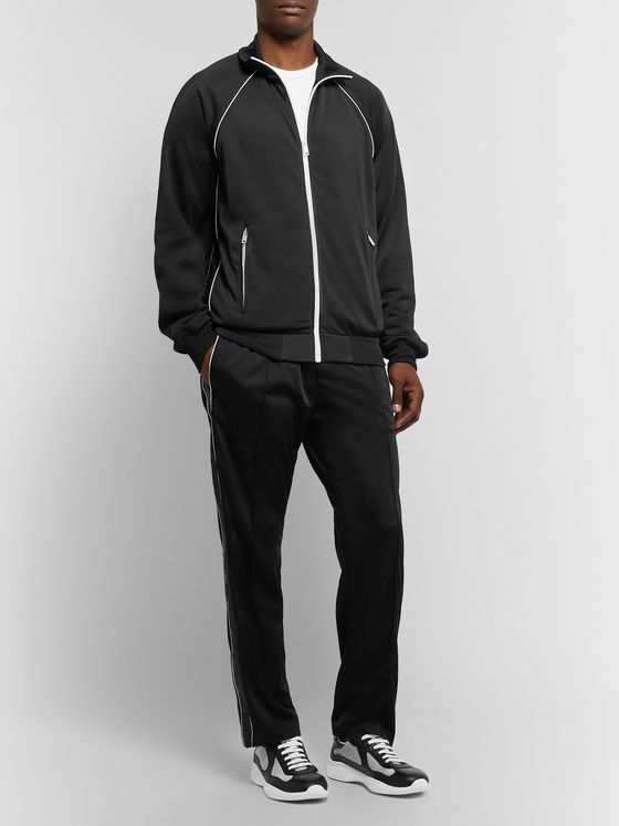 Prada Shell-Trimmed Tech-Jersey Track Jacket