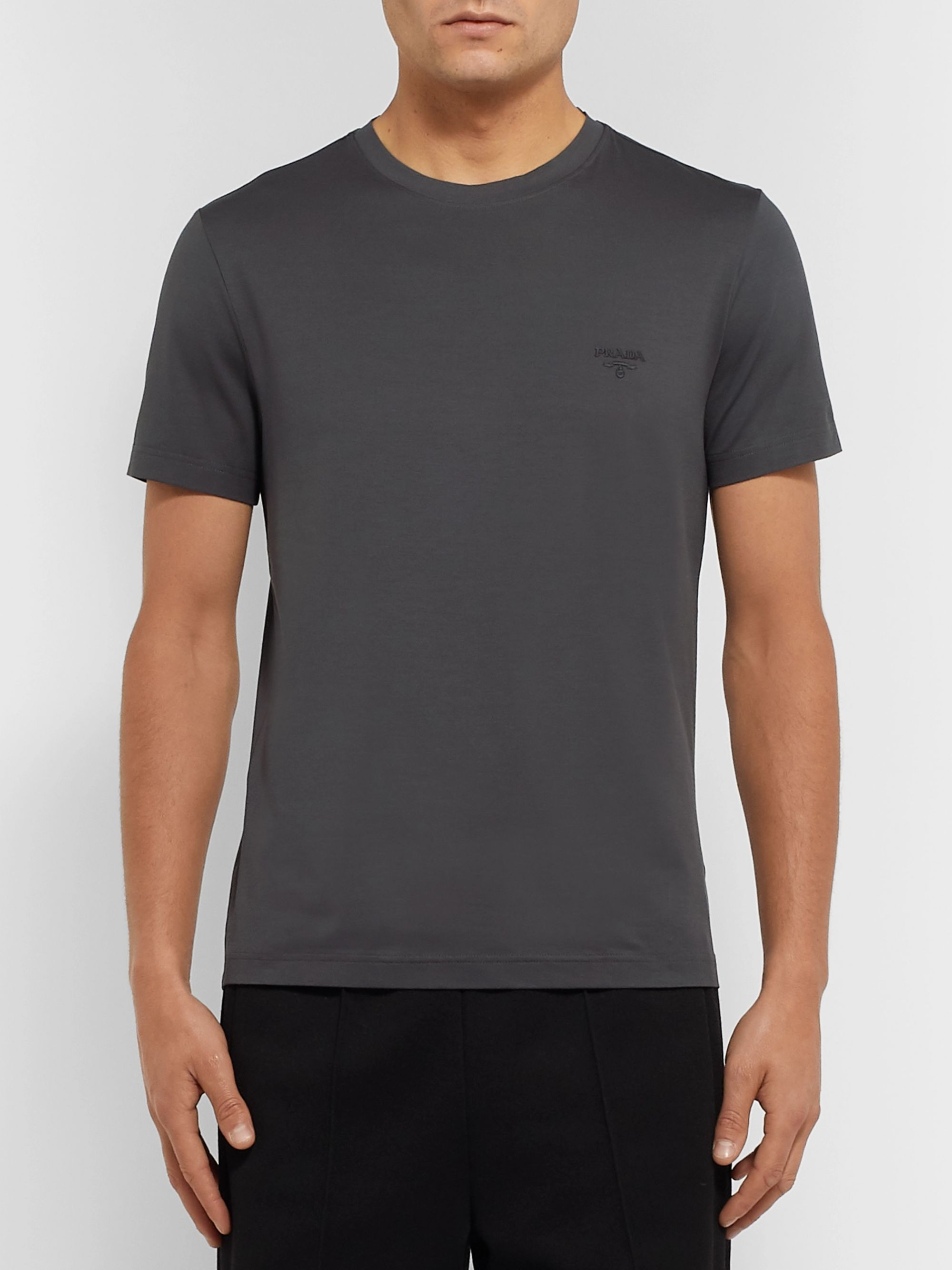 Prada Slim-Fit Logo-Embroidered Stretch Cotton-Jersey T-Shirt
