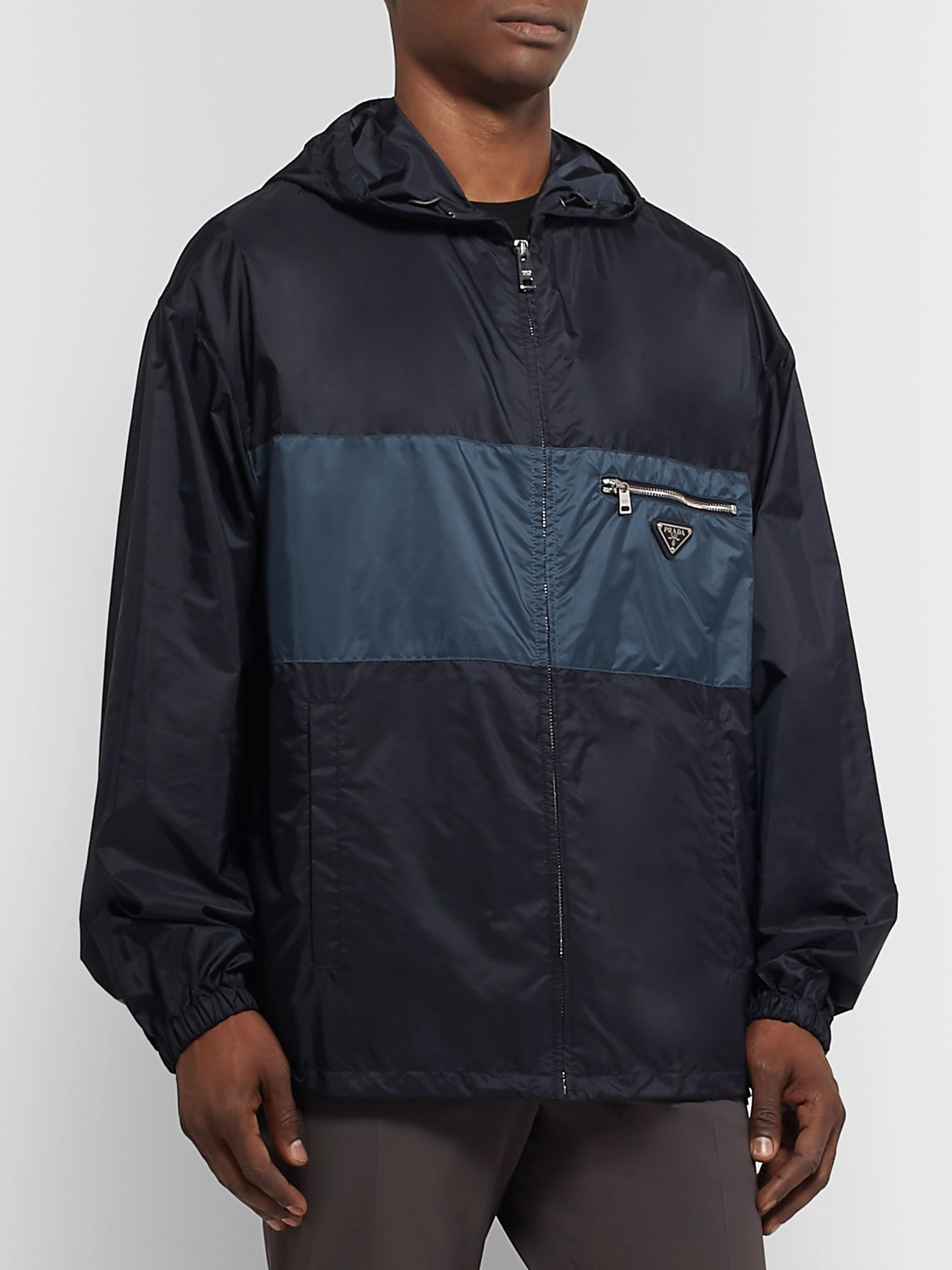 Prada Striped Shell Hooded Jacket