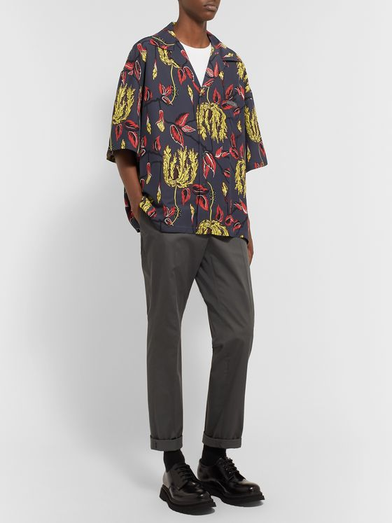 Prada Oversized Camp-Collar Printed Voile Shirt