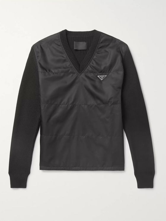 Prada Slim-Fit Logo-Appliquéd Virgin Wool and Nylon Sweater