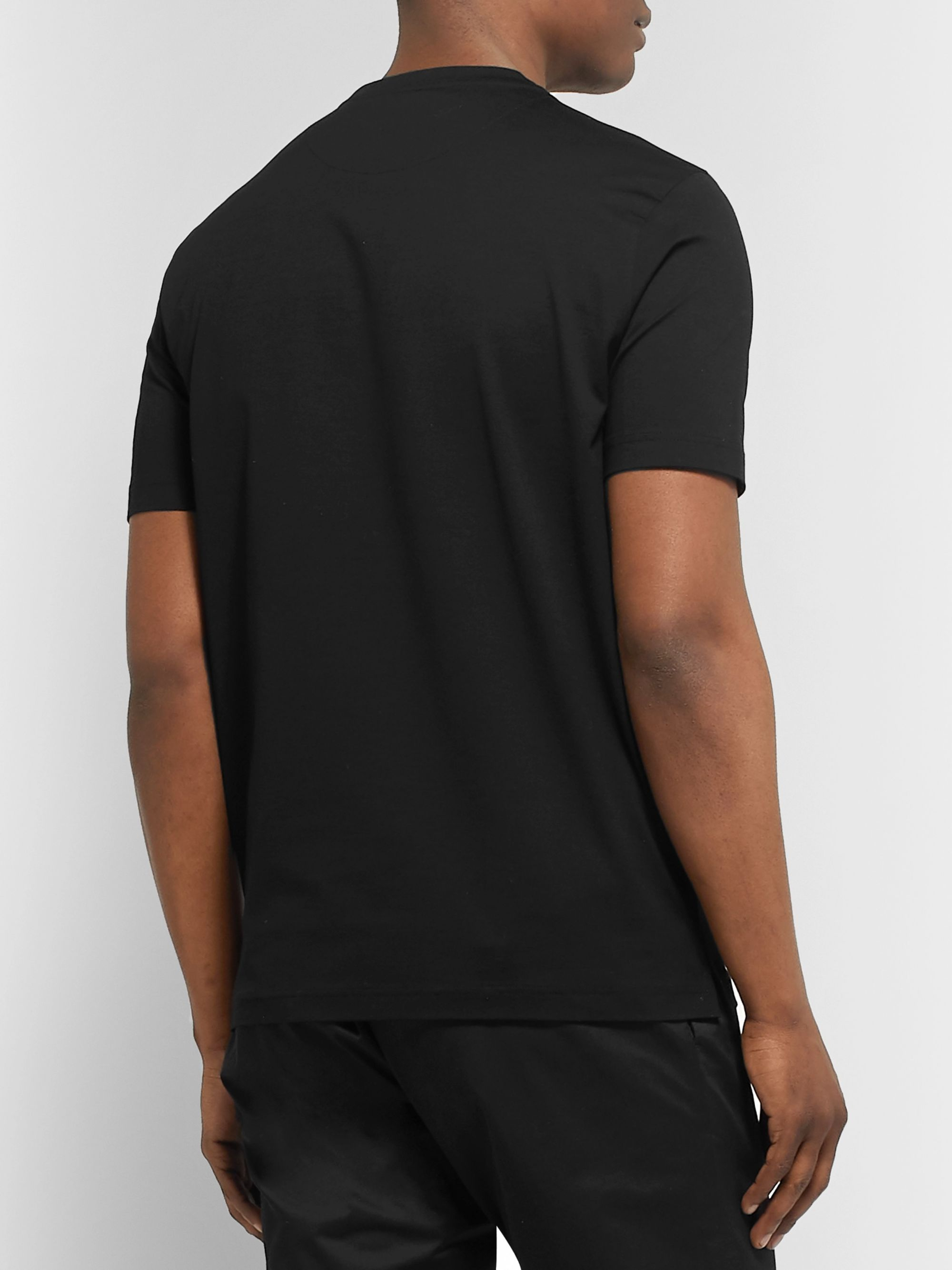 Prada Slim-Fit Nylon-Trimmed Stretch-Cotton Jersey T-Shirt