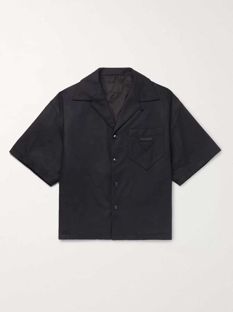 Prada Camp-Collar Logo-Appliquéd Virgin Wool-Blend Flannel Overshirt