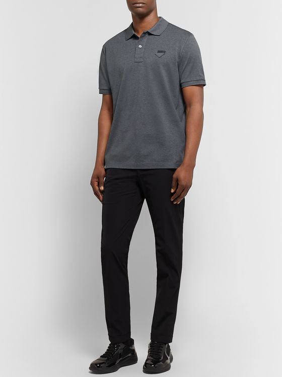 Prada Slim-Fit Logo-Appliquéd Cotton-Piqué Polo Shirt
