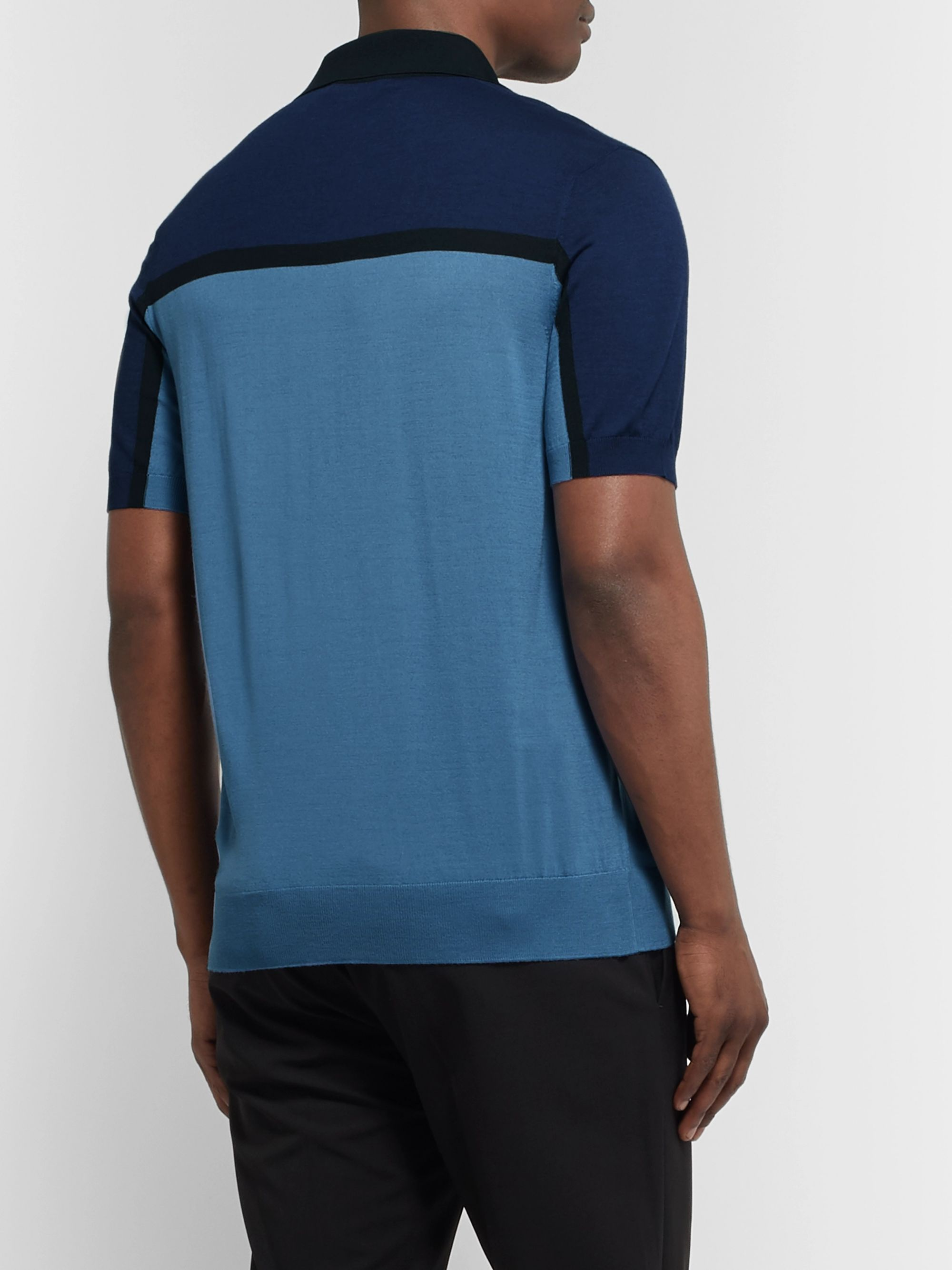 Prada Slim-Fit Colour-Block Knitted Virgin Wool Polo Shirt