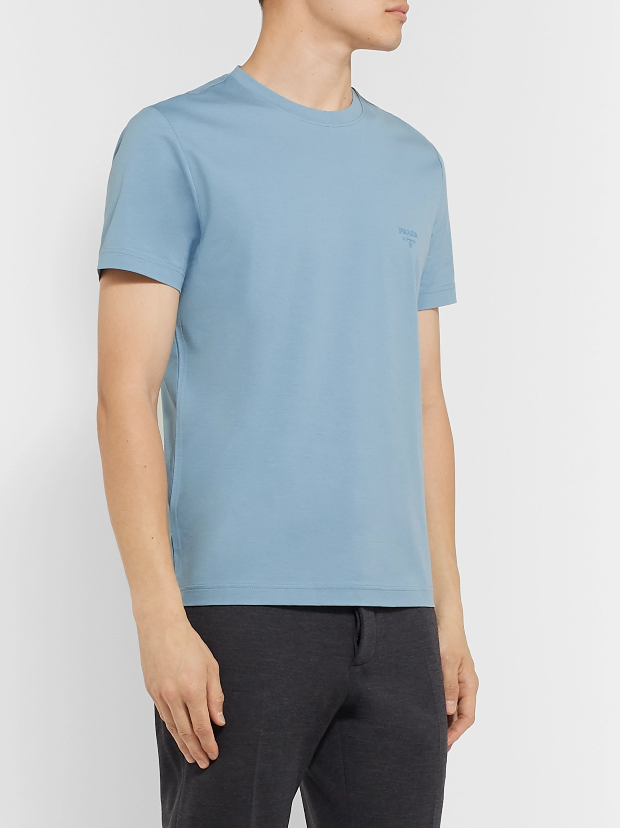 Prada Slim-Fit Logo-Embroidered Stretch-Cotton Jersey T-Shirt