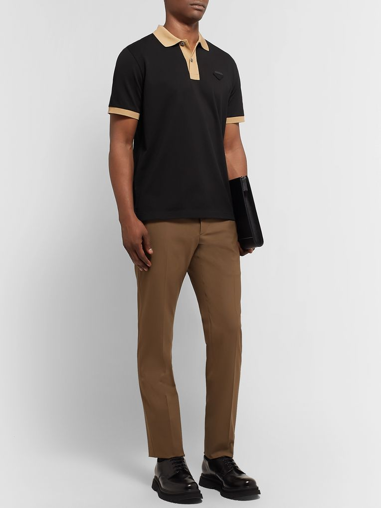Prada Logo-Appliquéd Slim-Fit Contrast-Tipped Cotton-Piqué Polo Shirt