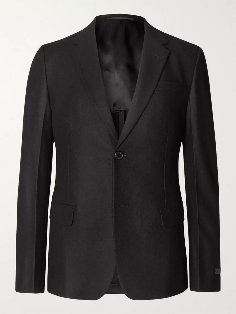 Prada Black Slim-Fit Unstructured Wool-Flannel Suit Jacket