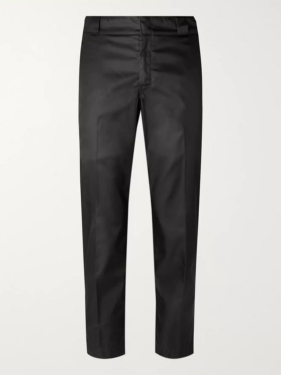 Prada Black Slim-Fit Cropped Logo-Appliquéd Nylon-Gabardine Trousers