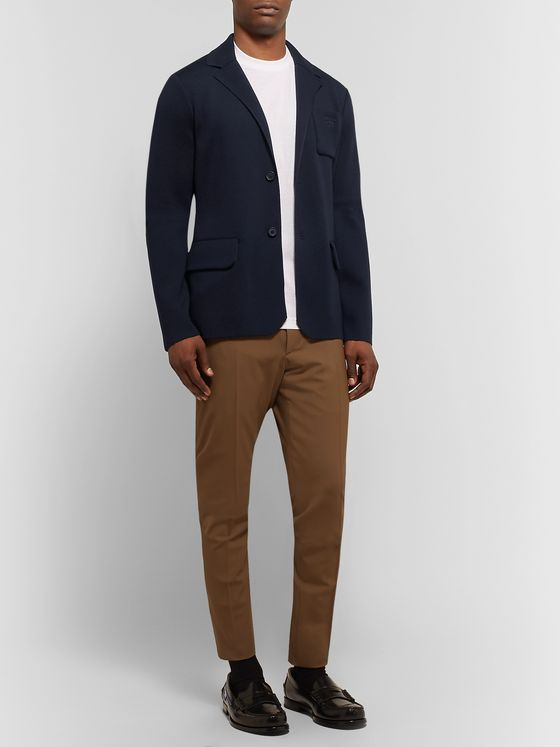 Prada Navy Slim-Fit Logo-Embroidered Virgin Wool Blazer