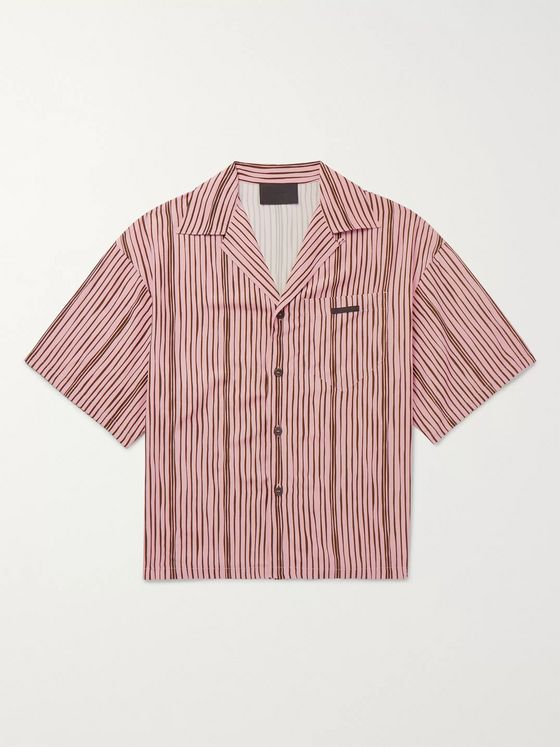 Prada Oversized Camp-Collar Striped Voile Shirt