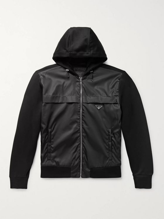 Prada Nylon-Panelled Cotton-Blend Jersey Zip-Up Hoodie