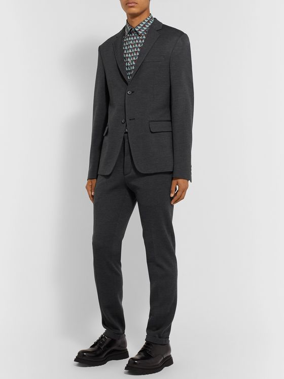 PRADA Charcoal Unstructured Virgin Wool-Jersey Suit Jacket