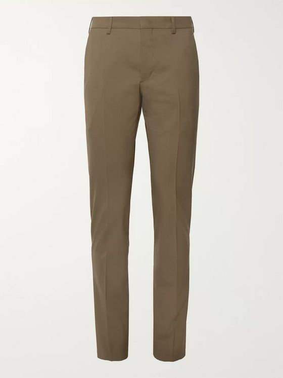 Prada Black Slim-Fit Stretch-Virgin Wool Trousers
